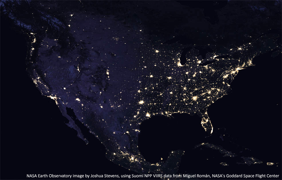 Continental USA at Night