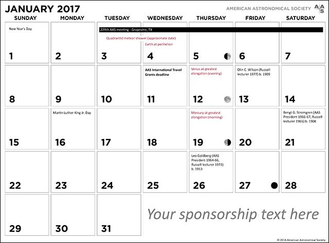 the 2017 AAS Wall Calendar