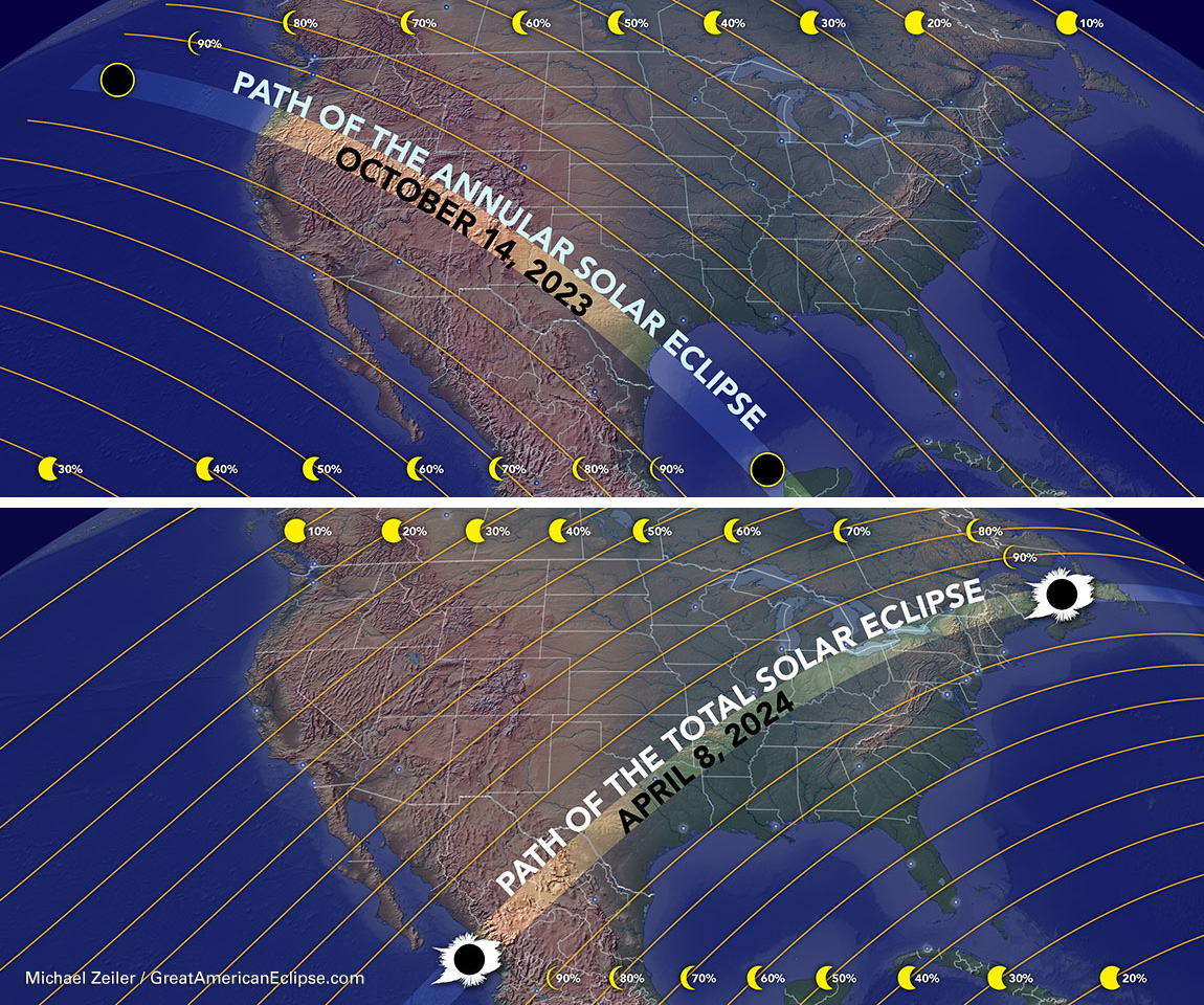 October 2023 and April 2024 Solar Eclipse Maps