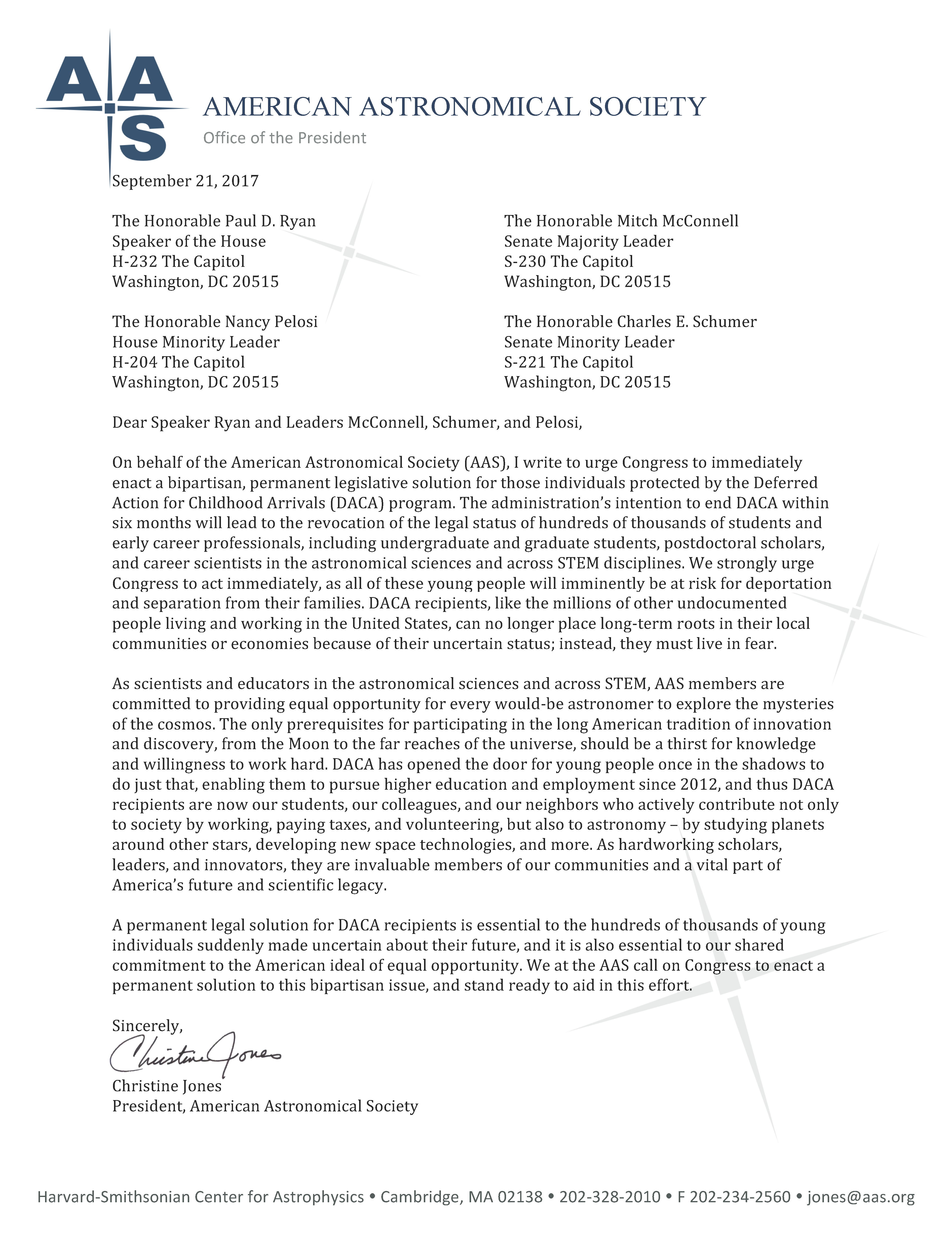 A Letter To Congressional Leadership From Aas President On Daca