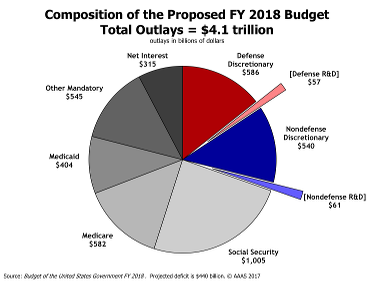 Pie chart of the composition (mandatory, discretionary) of the FY18 budget request