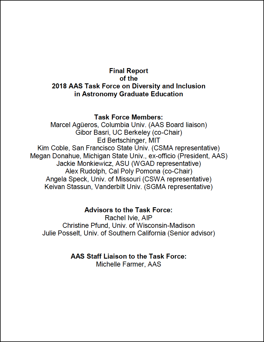 Report of the AAS Task Force on Diversity & Inclusion in Graduate Astronomy Education