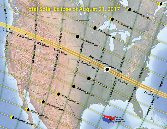 Map of 21 August 2017 Solar Eclipse in the USA