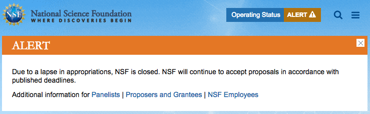 NSF shutdown message