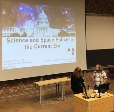 The previous John N. Bahcall Fellow, Ashlee Wilkins, preparing to give a policy talk at University of Washington, October 2018