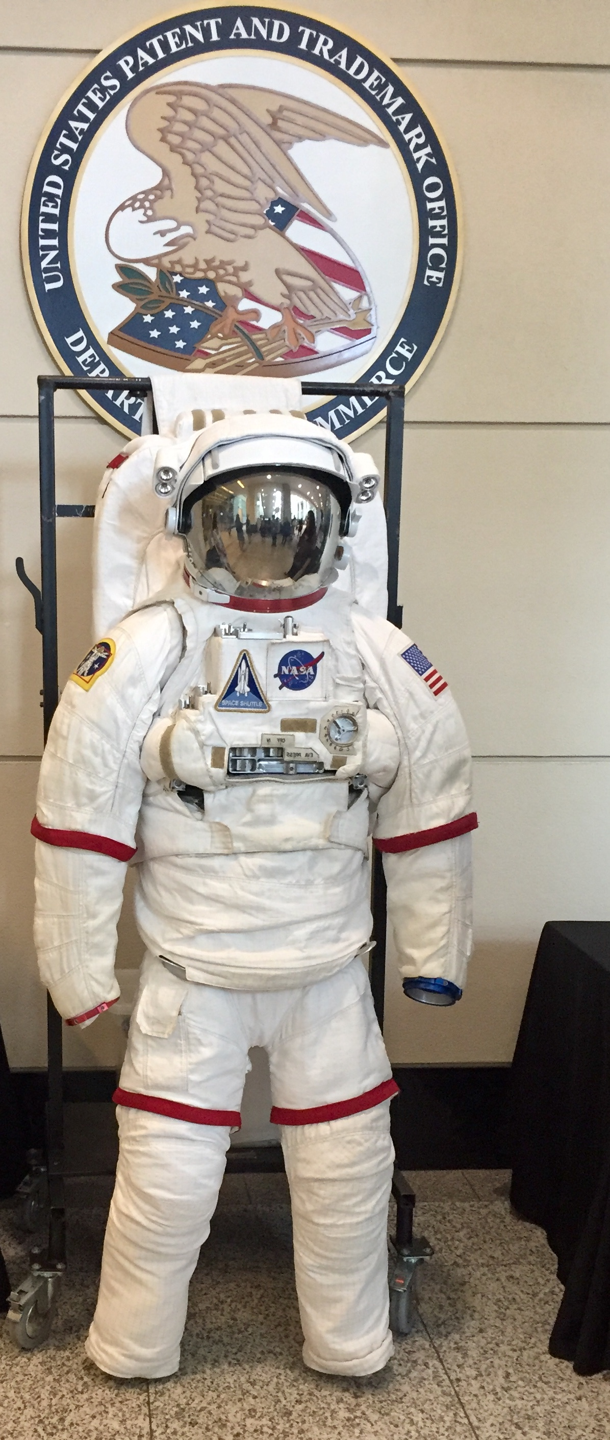 Replica space suit outside the room where the talks were held.