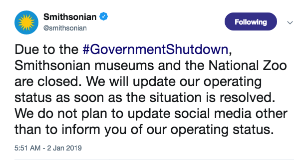 Smithsonian shutdown message